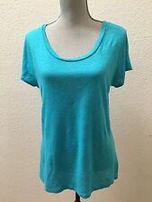 Calypso St Barth Turquoise Blue Top Shirt Blouse Medium M 100% Linen Excellent !