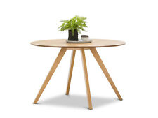 Scandinavian 120cm Round Dining Room 1.2m Table Light Wood Timber Oak