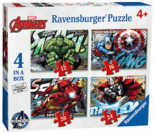 MARVEL AVENGERS ASSEMBLE 4 IN A BOX 12/16/20/24 PIECE RAVENSBURGER JIGSAW PUZZLE