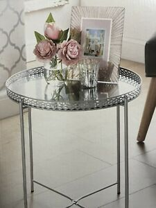 Silver Tray Table With Mirrored Glass Top Coffee Table With Removable Top