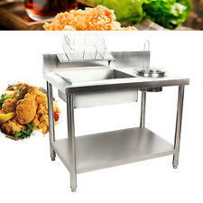 Stainless Breading Table Kitchen Fried Food Prep Breader Station Silver Worktop