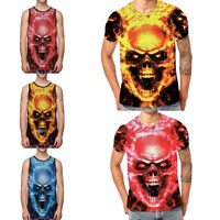 Fashion Men Skull 3D Printed Tee Shirt Short Sleeve Cotton T-Shirt Blouse Tops