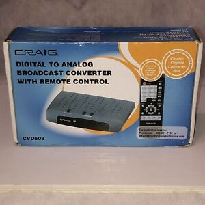 NEW IN BOX Craig Digital to Analog TV Broadcast Converter with Remote CVD508