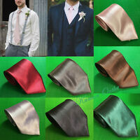MEN Quality Handmade Plain SILK TIE Casual Formal Ties Solid Colour 10cm Wide UK
