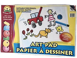 "Tree House Kids 2 Jumbo 30 Sheets Each Art Pads 18"" X 12""  36 Playskool Crayons"