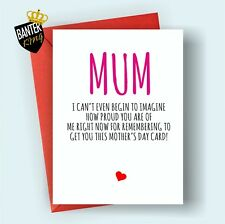 M2 MOTHERS DAY GREETINGS CARD MUM RUDE FUNNY CHEEKY LOVE MOTHER'S