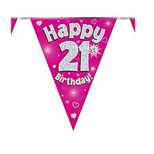 """Pink Glitter """"Happy Birthday"""" Buntings Holographic Party Decor Number & Wording"""