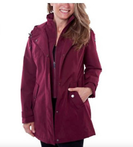 HFX Ladies' All Weather Trench Coat Water Resistant Hooded, Zinfandel, Medium