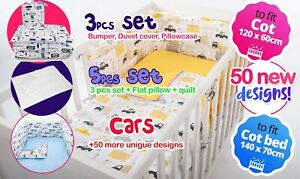 CARS DESIGNS- NURSERY BEDDING SET-BUMPER-PILLOW-QUILT COVERS BABY BOY BABY GIRL