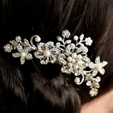 Lady's Rhinestone Bridal Wedding Flower Pearls Headband Hair Clip Comb Jewelry