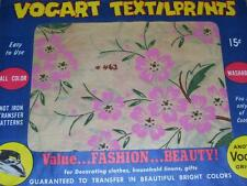VINTAGE VOGART TEXTILPRINTS #463-PRETTY PINK FLORAL HOT IRON TRANSFER PATTERN FF