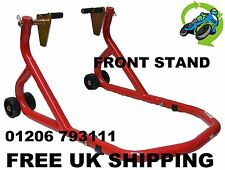 NEW UNIVERSAL HEAVY DUTY REINFORCED FRONT PADDOCK STAND RED TRACK DAY RACE BIKE