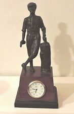 Bronze Golfer Leaning on Golf Bag statue on Wooden Base with  8 Day Quartz Clock