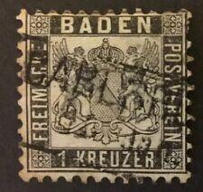 Baden 1k black SG27 1864, P 10, used. Unshaded background