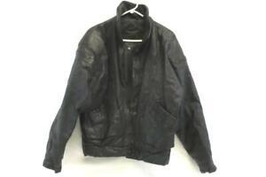 Vintage Alvin Black Genuine Leather Jacket Men's Size L Broken Zipper