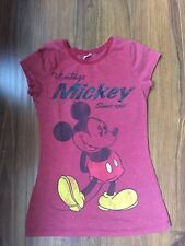 Disney Vintage Mickey Mouse Women's Juniors Red Short Sleeve T-Shirt S Top