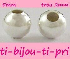 LOT de 100 PERLES RONDES LISSES 5mm ARGENTEES trou env. 2mm création bijoux