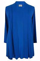 New Ladies Blue Waterfall Jersey Plus Size Cardigan