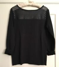 Bailey 44 Black Genuine Perforated Leather Mixed Media Top - Sz M