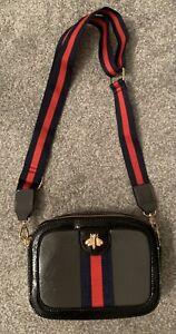 Bee Messenger Cross Over Camera Bag Patent Black Grey Navy Red Stripe Strap BNNT