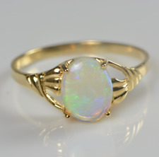 SALE:18K Yellow Gold,Natural Solid Crystal Opal Ring,Australian handmade,Women