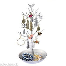 1 Baum Schmuck Ständer Halter Halskette Armband Ohrringe Display Silbergrau
