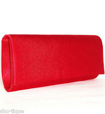 NEW WOMENS LIGHT RED CLASSIC SATIN WEDDING PROM CLUTCH SHOULDER BAG LADIES