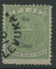 Fiji SG14 1872 6c on 3d yellow green Used