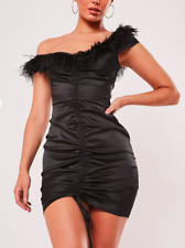 Missguided Black Satin Feather Off The Shoulder Mini Dress BNWT Size UK 8