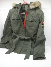 Women's Buffalo DAVID BITTON Green Full Zip Faux Fur Trim Military Jacket SMALL