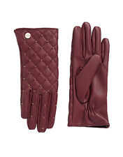 Calvin Klein Womens Stud Quilted Leather Purple Gloves M, 8639-3
