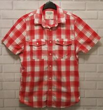Men's Abercrombie & Fitch Muscle Fit Short Sleeve Red Check Shirt, Size XL