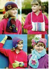 Los patrones de tejido-Girl 's Sombreros/Bufandas/Guantes/Calientamanos, tamaños de 3 2-12yrs P0309