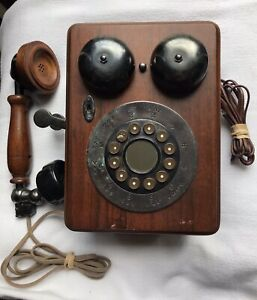 Antique Wooden Wall Telephone Mounted Touch Tone Phone Not Tested