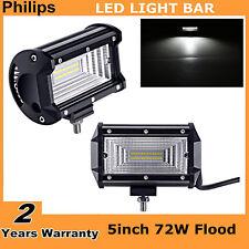 "2PCS 5"" Inch 72W Flood LED Work Light Bar Truck Boat SUV Driving Lamp Waterproof"