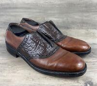 Allen Edmonds Mens Shoes Shelton Two-Tone Saddle Oxford Brown Lace up Size 9 AA