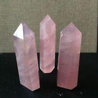 "10Pcs 2.36"" Natural Rock Pink Rose Quartz Crystal Point Healing Obelisk Wand"