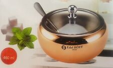 Gold - copper  Stainless Steel Sugar Bowl With Lid and spoon 460 ml  Glass lid