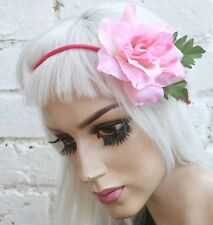 PINK ROSE FLOWER HAIR FOREHEAD HEAD BAND HIPSTER INDIE GRUNGE FESTIVAL