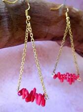 EARRINGS, SYNTHETIC RED CORAL ON GOLDTONE CHAIN