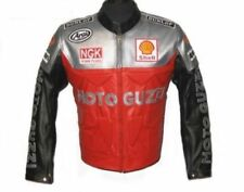 SILVER RED MOTO GUZZI  MOTORBIKE  LEATHER JACKET CE APPROVED