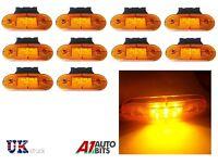 10 12V LED amber orange side marker lights indicator trailer truck lorry van bus