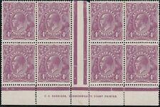 Stamps Australia 4d violet KGV single watermark Harrison imprint block of 8, MH