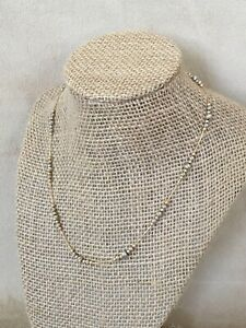 14k WHITE YELLOW GOLD ITALIAN BEADED STATION NECKLACE 16.25 IN 7.6g