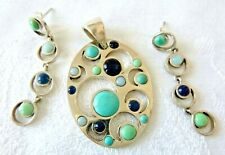 Signed BARSE Sterling Silver Pendant Earrings Set Turquoise Blue Chalcedony