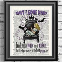 Gothic Dictionary art print Alice in Wonderland Steampunk Bat wall hanging Gift