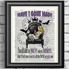 Gothic Diccionario Art Print Alice In Wonderland Steampunk Bat Colgante De Pared De Regalo
