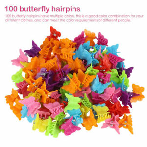 100Pcs Butterfly Hair Clips Girls Claws Kids Baby Mini Hairpins Accessories