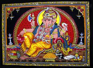 Ganesha Painting Sequin Religious Batik Ganesh Wall Hanging Decor Small ASBS008