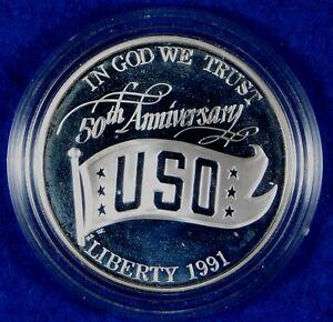 1991-S $1 Proof 50th Ann. USO Commemorative Silver Dollar Coin